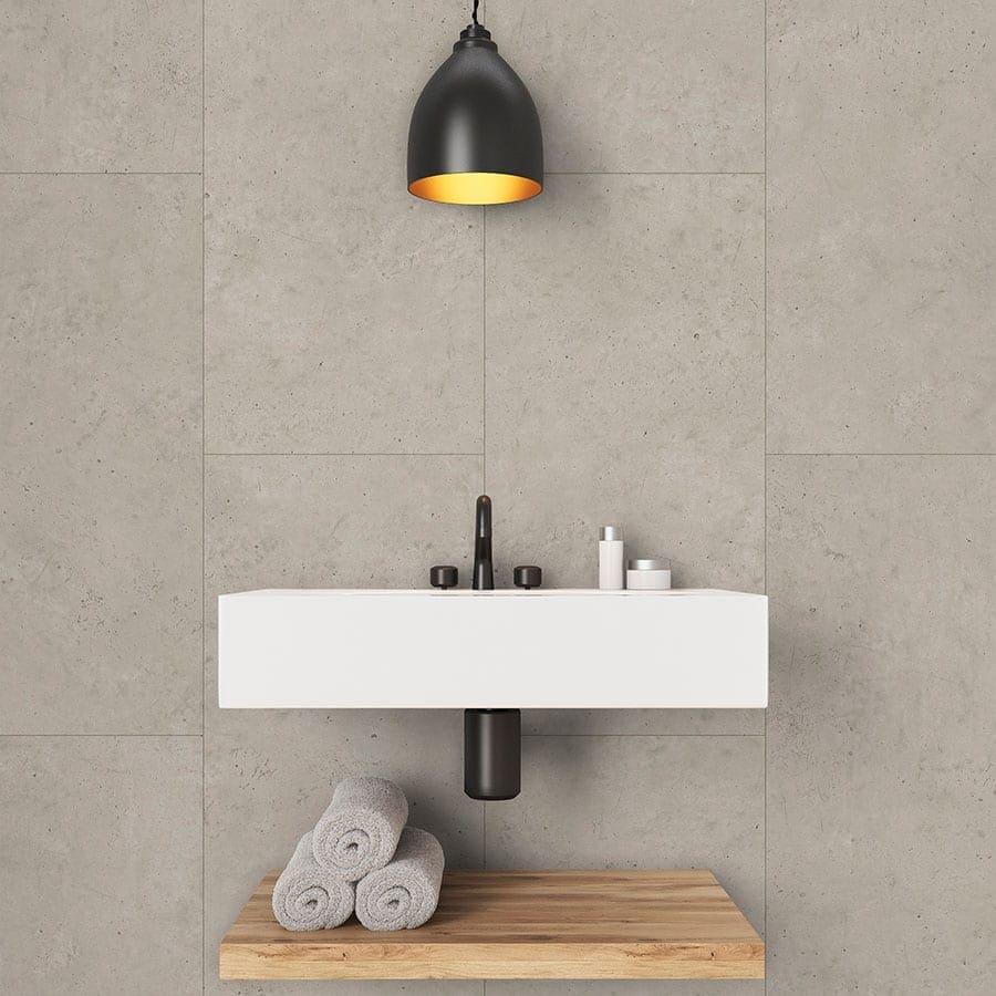 beige concrete tile effect wall panels  waterproof  easy