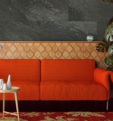 Black Stone Tile Effect Wall Panel Living Room
