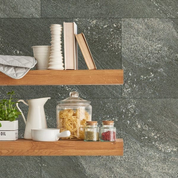 Dark Stone Waterproof Tile Effect Wall Panels Shelves