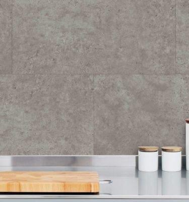 Grey Concrete Tile Effect Wall Panel Kitchen