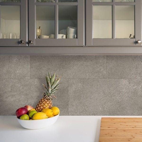 Grey Slate Kitchen Tile Effect Wall Panel