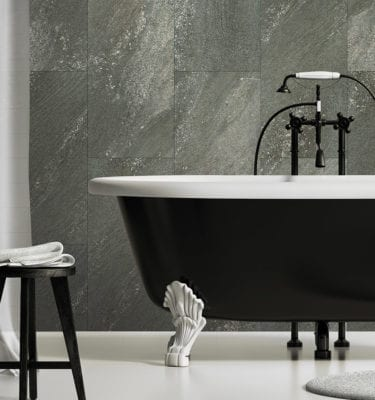 Dark Stone Waterproof Tile Effect Wall Panels