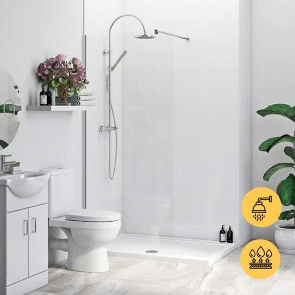 GLOSS WHITE GECKO BATHROOM WALL CLADDING