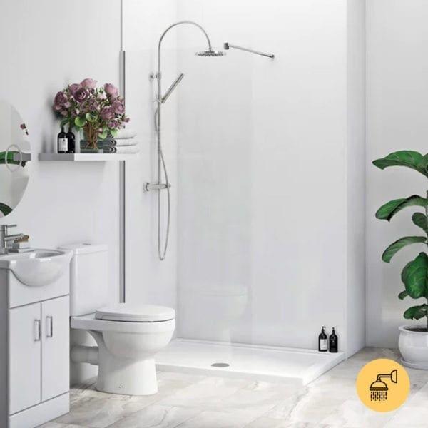 Gloss White Gecko Shower Wall Panel Room