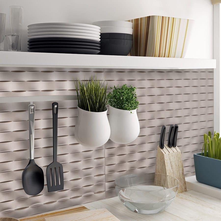 - Lattice Brushed Nickel PVC Wall Panels Lightweight & Easy Install
