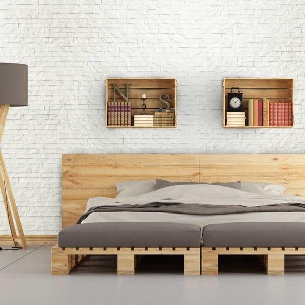 Ledge Stone Interlocking White in Bedroom