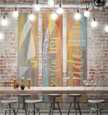 Surf Boards Colour P4001F60 3 Panel Wall Art 1